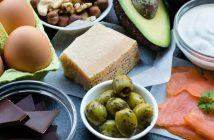 Eggs, olives, avocados, salmon, yogurt, nuts, cheese