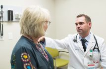 Dr. Dan Flora meeting with breast cancer patient