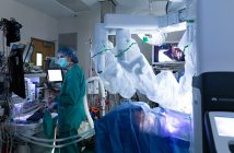 Operating room with daVinci robotic system