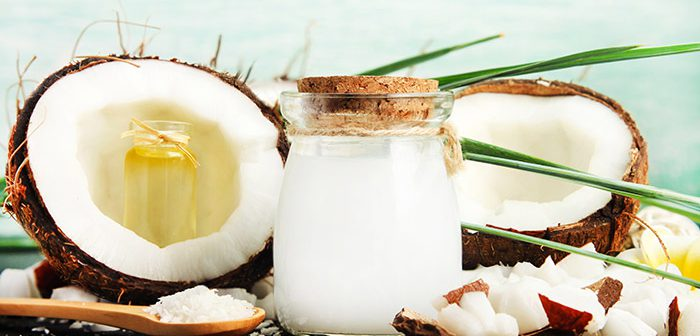 An open coconut with coconut oil