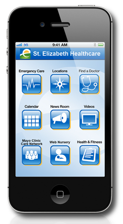 Photo of how St. Elizabeth Healthcare's mobile app sreen looks